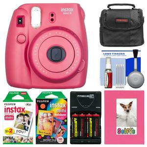 Fujifilm Instax Mini 8 Instant Film Camera-Raspberry-with Photo Album and Instant Film and Rainbow Film and Case and Batteries and Charger Kit