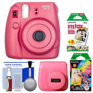 Fujifilm Instax Mini 8 Instant Film Camera-Raspberry-with 20 Twin and 10 Rainbow Prints and Case and Kit