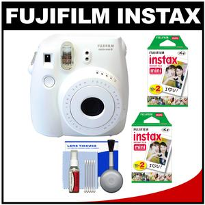 Fujifilm Instax Mini 8 Instant Film Camera-White-with 40 Instant Film and Cleaning Kit