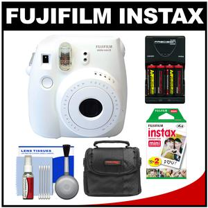 Fujifilm Instax Mini 8 Instant Film Camera-White-with 20 Instant Film and Case and-4-Batteries and Charger and Kit