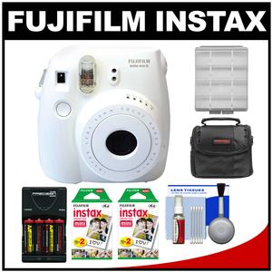 Fujifilm Instax Mini 8 Instant Film Camera-White-with 40 Instant Film and Case and Batteries and Charger Kit