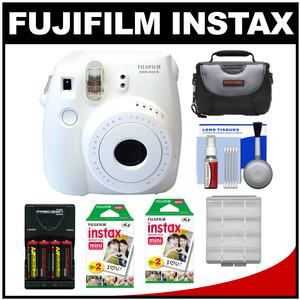 Fujifilm Instax Mini 8 Instant Film Camera-White-with 40 Instant Film and Case and Batteries and Charger and Kit