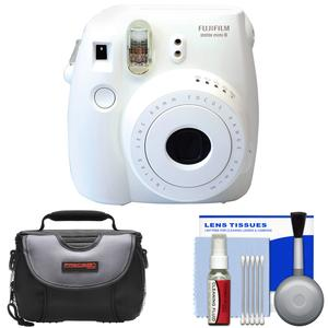 Fujifilm Instax Mini 8 Instant Film Camera (White) with Case + Cleaning Kit