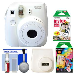 Fujifilm Instax Mini 8 Instant Film Camera-White-with 20 Twin and 10 Rainbow Prints and Case and Kit