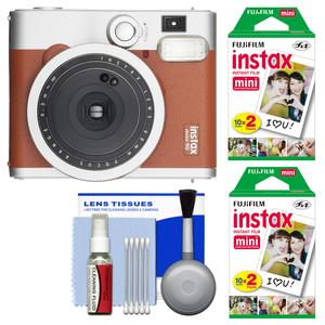 Fujifilm Instax Mini 90 Neo Classic Instant Film Camera - Brown - with 40 Instant Film + Cleaning Kit