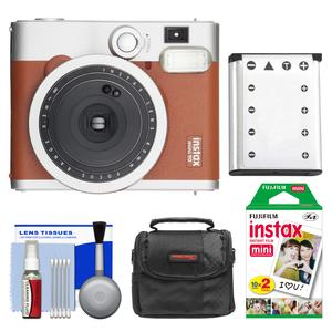Fujifilm Instax Mini 90 Neo Classic Instant Film Camera - Brown - with 20 Instant Film + Case + Battery + Cleaning Kit