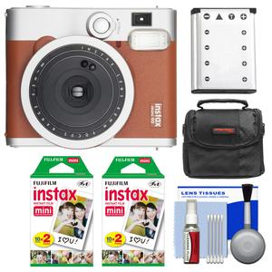 Fujifilm Instax Mini 90 Neo Classic Instant Film Camera - Brown - with 40 Instant Film + Case + Battery + Cleaning Kit