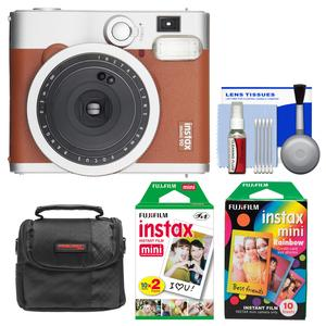 Fujifilm Instax Mini 90 Neo Classic Instant Film Camera - Brown - with Instant and Rainbow Film Packs + Case + Kit