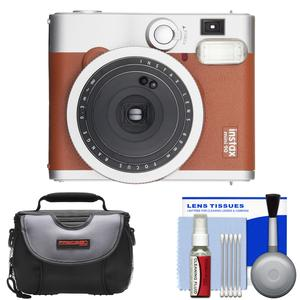 Fujifilm Instax Mini 90 Neo Classic Instant Film Camera - Brown - with Case + Cleaning Kit