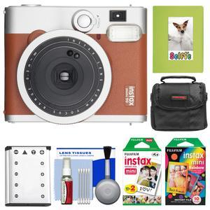 Fujifilm Instax Mini 90 Neo Classic Instant Film Camera - Brown - with 20 Twin Prints and 10 Rainbow Prints + Case + Battery + Photo Album + Kit