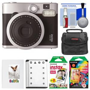 Fujifilm Instax Mini 90 Neo Classic Instant Film Camera with 20 Twin Prints and 10 Rainbow Prints + Case + Battery + Photo Album Kit