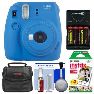 Fujifilm Instax Mini 9 Instant Film Camera - Cobalt Blue - with 20 Twin Color Prints + Case + Batteries and Charger + Cleaning Kit