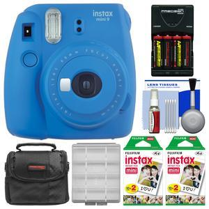 Fujifilm Instax Mini 9 Instant Film Camera - Cobalt Blue - with 40 Twin Color Prints + Case + Batteries and Charger + Cleaning Kit