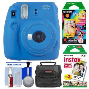 Fujifilm Instax Mini 9 Instant Film Camera - Cobalt Blue - with 20 Twin and 10 Rainbow Prints + Case + Cleaning Kit
