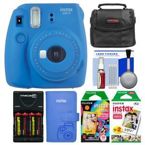 Fujifilm Instax Mini 9 Instant Film Camera - Cobalt Blue - with Photo Album + 20 Twin and 10 Rainbow Prints + Case + Batteries and Charger + Kit