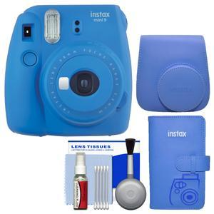 Fujifilm Instax Mini 9 Instant Film Camera - Cobalt Blue - with Groovy Case + Photo Album + Kit