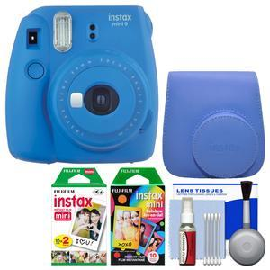 Fujifilm Instax Mini 9 Instant Film Camera - Cobalt Blue - with Case + 20 Twin and 10 Rainbow Prints + Cleaning Kit