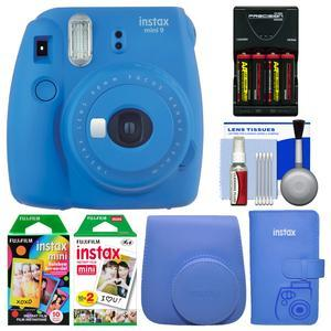 Fujifilm Instax Mini 9 Instant Film Camera - Cobalt Blue - with Case + Photo Album + 20 Twin and 10 Rainbow Prints + Batteries and Charger + Cleaning Kit