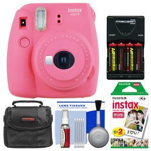 Fujifilm Instax Mini 9 Instant Film Camera - Flamingo Pink - with 20 Twin Color Prints + Case + Batteries and Charger + Cleaning Kit
