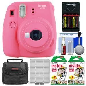 Fujifilm Instax Mini 9 Instant Film Camera - Flamingo Pink - with 40 Twin Color Prints + Case + Batteries and Charger + Cleaning Kit