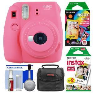Fujifilm Instax Mini 9 Instant Film Camera - Flamingo Pink - with 20 Twin and 10 Rainbow Prints + Case + Cleaning Kit