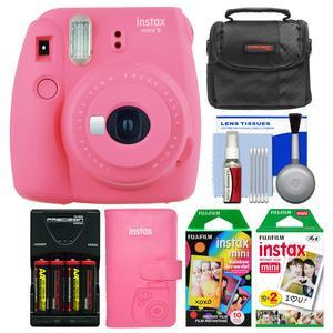 Fujifilm Instax Mini 9 Instant Film Camera - Flamingo Pink - with Photo Album + 20 Twin and 10 Rainbow Prints + Case + Batteries and Charger + Kit