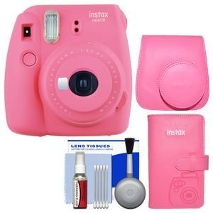 Fujifilm Instax Mini 9 Instant Film Camera - Flamingo Pink - with Groovy Case + Photo Album + Kit