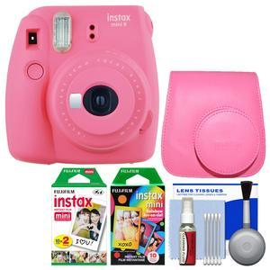 Fujifilm Instax Mini 9 Instant Film Camera - Flamingo Pink - with Case + 20 Twin and 10 Rainbow Prints + Cleaning Kit