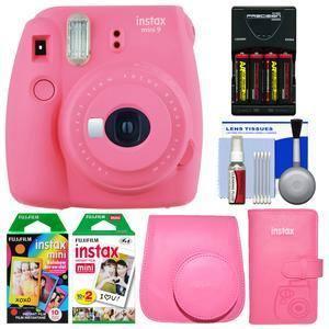Fujifilm Instax Mini 9 Instant Film Camera - Flamingo Pink - with Case + Photo Album + 20 Twin and 10 Rainbow Prints + Batteries and Charger + Cleaning Kit