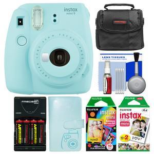 Fujifilm Instax Mini 9 Instant Film Camera - Ice Blue - with Photo Album + 20 Twin and 10 Rainbow Prints + Case + Batteries and Charger + Kit
