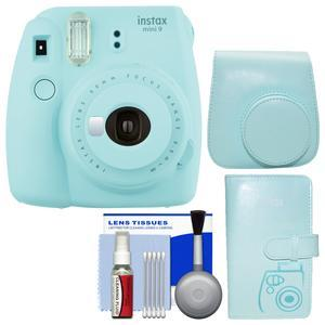 Fujifilm Instax Mini 9 Instant Film Camera - Ice Blue - with Groovy Case + Photo Album + Kit