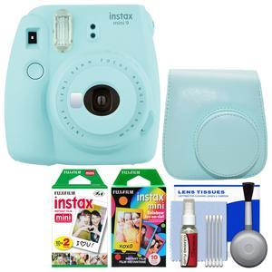 Fujifilm Instax Mini 9 Instant Film Camera - Ice Blue - with Case + 20 Twin and 10 Rainbow Prints + Cleaning Kit