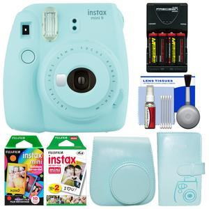 Fujifilm Instax Mini 9 Instant Film Camera - Ice Blue - with Case + Photo Album + 20 Twin and 10 Rainbow Prints + Batteries and Charger + Cleaning Kit
