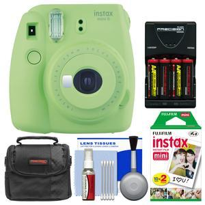 Fujifilm Instax Mini 9 Instant Film Camera - Lime Green - with 20 Twin Color Prints + Case + Batteries and Charger + Cleaning Kit