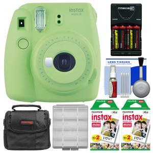 Fujifilm Instax Mini 9 Instant Film Camera - Lime Green - with 40 Twin Color Prints + Case + Batteries and Charger + Cleaning Kit