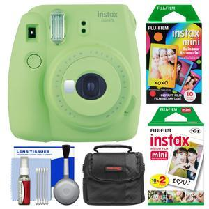 Fujifilm Instax Mini 9 Instant Film Camera - Lime Green - with 20 Twin and 10 Rainbow Prints + Case + Cleaning Kit