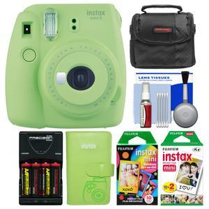 Fujifilm Instax Mini 9 Instant Film Camera - Lime Green - with Photo Album + 20 Twin and 10 Rainbow Prints + Case + Batteries and Charger + Kit