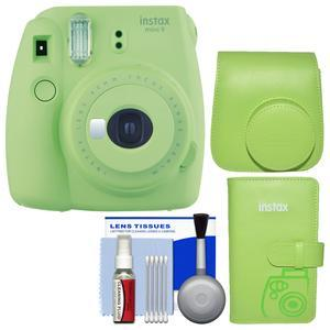 Fujifilm Instax Mini 9 Instant Film Camera - Lime Green - with Groovy Case + Photo Album + Kit