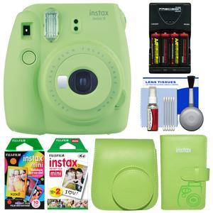 Fujifilm Instax Mini 9 Instant Film Camera - Lime Green - with Case + Photo Album + 20 Twin and 10 Rainbow Prints + Batteries and Charger + Cleaning Kit