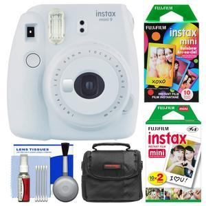 Fujifilm Instax Mini 9 Instant Film Camera - Smokey White - with 20 Twin and 10 Rainbow Prints + Case + Cleaning Kit
