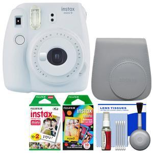 Fujifilm Instax Mini 9 Instant Film Camera - Smokey White - with Case + 20 Twin and 10 Rainbow Prints + Cleaning Kit