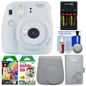 Fujifilm Instax Mini 9 Instant Film Camera - Smokey White - with Case + Photo Album + 20 Twin and 10 Rainbow Prints + Batteries and Charger + Cleaning Kit