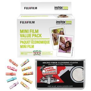 Fujifilm Instax Mini Instant Film Value Pack - 60 Color Prints - with Wood Peg Clips + Cleaning Cloth Kit