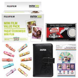 Fujifilm Instax Mini Instant Film Value Pack-60 Color Prints-with Mini Wallet and Wood Peg Clips and Frame Stickers and Cleaning Cloth Kit