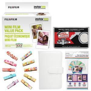 Fujifilm Instax Mini Instant Film Value Pack - 60 Color Prints - with Mini Wallet + Wood Peg Clips + Frame Stickers + Cleaning Cloth Kit