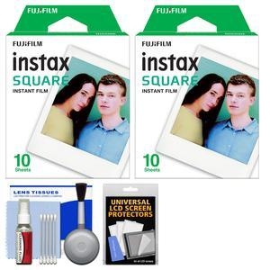 - 2 - Fujifilm Instax WW1 Square Instant Film - 10 Color Prints - with Cleaning Kit