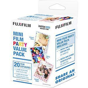 Fujifilm Instax Mini Party Value Pack Instant Film-20 Color Prints-10 Candy Pop-10 Stained Glass