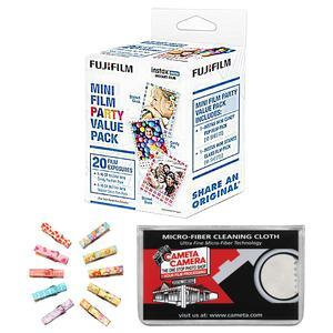 Fujifilm Instax Mini Party Value Pack Instant Film - 20 Color Prints - with Wood Peg Clips + Cleaning Cloth Kit