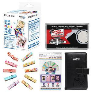Fujifilm Instax Mini Party Value Pack Instant Film-20 Color Prints-with Mini Wallet and Wood Peg Clips and Frame Stickers and Cleaning Cloth Kit