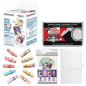 Fujifilm Instax Mini Party Value Pack Instant Film - 20 Color Prints - with Mini Wallet + Wood Peg Clips + Frame Stickers + Cleaning Cloth Kit